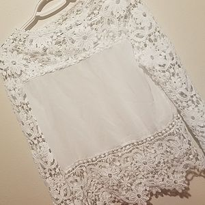 **2for$20**Pure white lace sleeved top